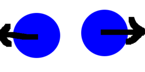 Two blue circles with black arrows that point outwards.